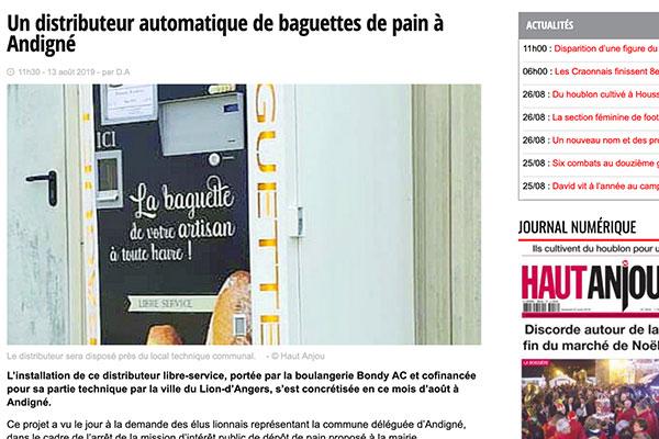 Distributeur de pain à Andigné Maine-et-Loire